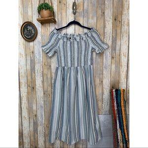 PinkBlush Blue Striped Smocked OTS Maxi Dress